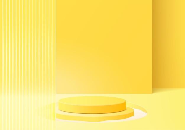モダンな黄色いガラスの3d背景プラットフォーム。背景ベクトル3dレンダリングクリスタル表彰台プラットフォーム。スタンドショー化粧品。台座のモダンなガラススタジオプラットフォームのステージショーケース