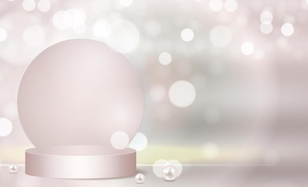 化粧品テンプレートを表示する3d背景表彰台シリンダー