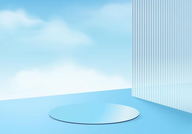 3d背景製品は、雲の幾何学的なプラットフォームで表彰台のシーンを表示します。表彰台と雲の背景ベクトル3dレンダリング。化粧品を展示するスタンド。台座ディスプレイブルースタジオのステージショーケース