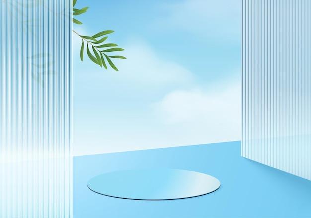 클라우드 기하학적 플랫폼이 있는 3d 배경 제품 디스플레이 연단 장면. 구름 배경 벡터 연단과 3d 렌더링입니다. 화장품을 보여주는 스탠드. 받침대 디스플레이 블루 스튜디오의 무대 쇼케이스