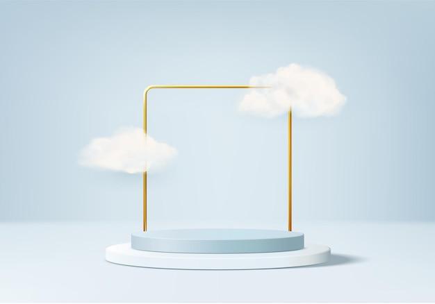 구름 기하학적 플랫폼과 3d 배경 제품 디스플레이 연단 장면.