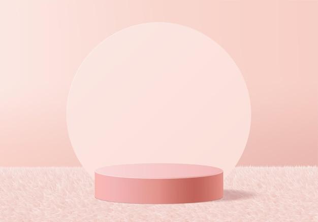 3d  background products display podium on pink carpet platform.