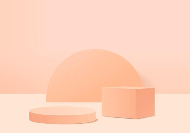 3d фоновые продукты отображают сцену подиума с геометрической платформой. фон 3d-рендеринг с подиумом. сценическая витрина на пьедестале оранжевой студии