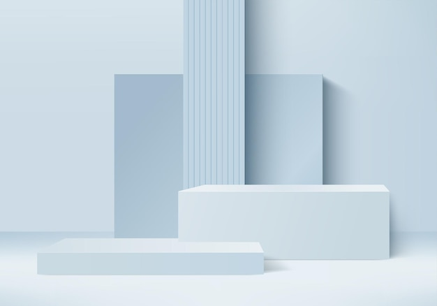 3d background products display podium scene with geometric platform. background 3d rendering with podium. stage showcase on pedestal display blue studio
