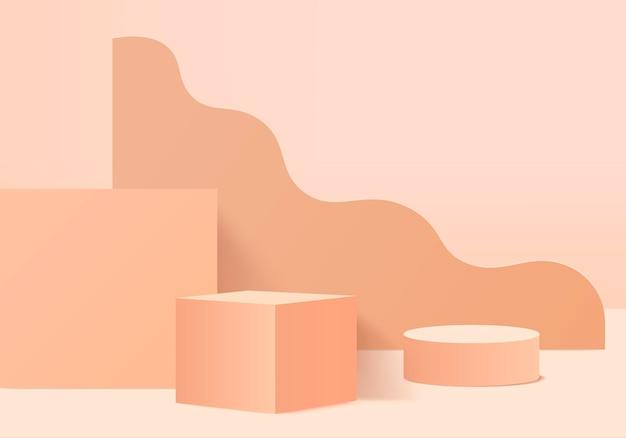 3d background products display podium scene with geometric platform. background 3d rendering with podium. stage showcase on pedestal display orange studio