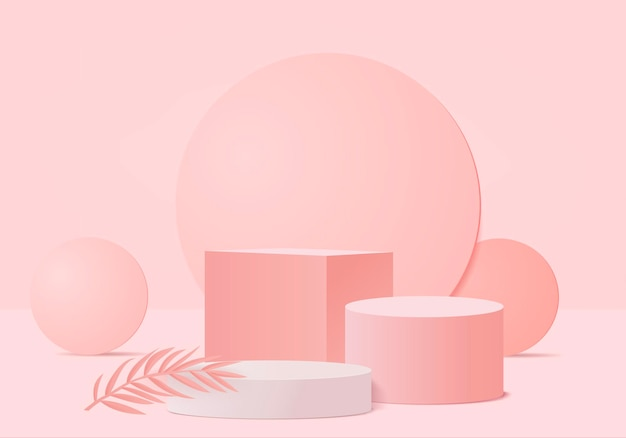 3d background products display podium scene with geometric platform. background 3d rendering with podium. stage showcase on pedestal display pink studio