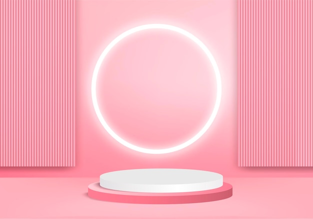 3d background products display podium scene with geometric platform. background 3d rendering with podium. stand to show cosmetic products. stage showcase on pedestal display pink studio