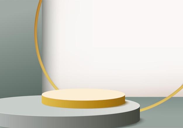 3d фоновые продукты отображают сцену подиума с геометрической платформой. фон 3d-рендеринг с подиумом. стенд для демонстрации косметической продукции. сценическая витрина на пьедестале зеленая студия