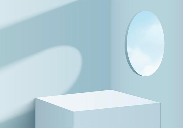 3d 배경 제품은 기하학적 플랫폼이 있는 연단 장면을 표시합니다. 배경 벡터 연단과 3d 렌더링입니다. 화장품을 보여주는 스탠드. 받침대 디스플레이 블루 스튜디오의 무대 쇼케이스