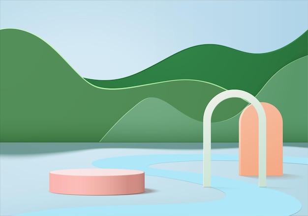 3d背景製品は、幾何学的なプラットフォームで表彰台のシーンを表示します。表彰台との背景ベクトル3dレンダリング。化粧品を展示するスタンド。台座ディスプレイグリーンスタジオのステージショーケース