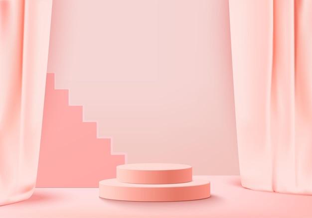 3d 배경 제품은 기하학적 플랫폼이 있는 연단 장면을 표시합니다. 배경 벡터 연단과 3d 렌더링입니다. 화장품을 보여주는 스탠드. 받침대 디스플레이 핑크 스튜디오의 무대 쇼케이스
