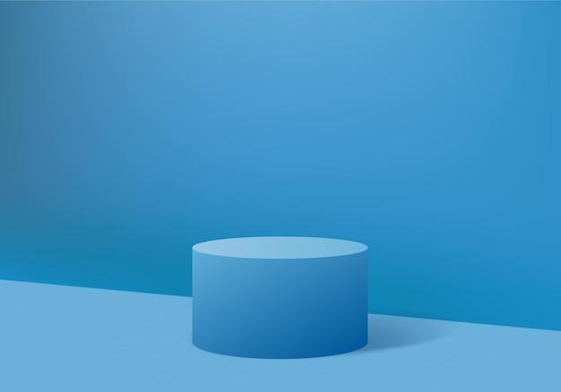 3d 배경 제품은 기하학적 플랫폼으로 연단 장면을 표시합니다. 페데스탈 디스플레이 블루 스튜디오의 무대 쇼케이스