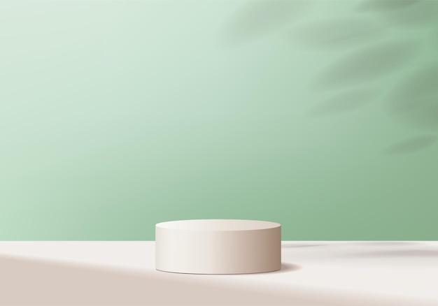 3d 배경 제품은 기하학적 플랫폼으로 연단 장면을 표시합니다. 받침대 디스플레이 green studio의 무대 쇼케이스