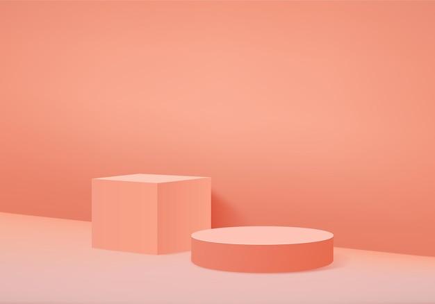 3d фоновые продукты отображают сцену подиума с геометрической платформой. сценическая витрина на пьедестале оранжевой студии