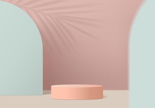 3d 배경 제품은 기하학적 플랫폼으로 연단 장면을 표시합니다. 페데스탈 디스플레이 핑크 스튜디오의 무대 쇼케이스