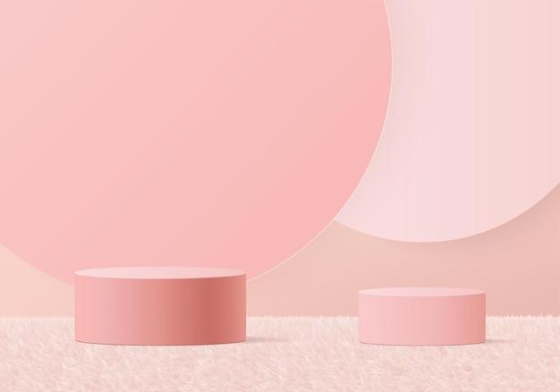 3d背景製品は、幾何学的なプラットフォームで表彰台のシーンを表示します。台座ディスプレイピンクスタジオのステージショーケース