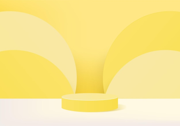 3d 배경 제품은 기하학적 플랫폼으로 연단 장면을 표시합니다. 받침대 디스플레이 노란색 스튜디오의 무대 쇼케이스
