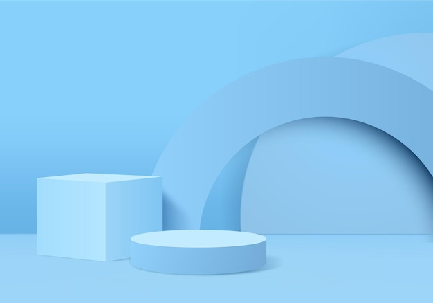 3d background products display podium scene with geometric platform.   stage showcase on pedestal display blue studio