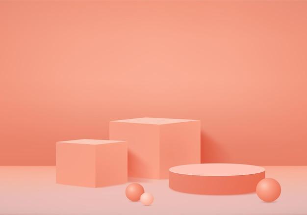 3d background products display podium scene with geometric platform.   stage showcase on pedestal display orange studio