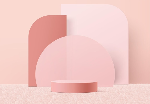 3d background products display podium scene with geometric platform.   stage showcase on pedestal display pink studio