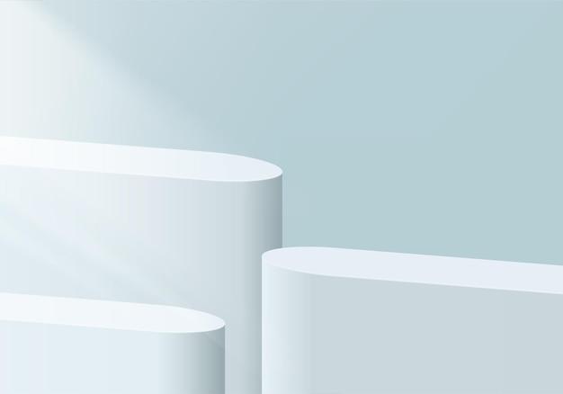 3d 배경 제품은 기하학적 플랫폼으로 연단 장면을 표시합니다.