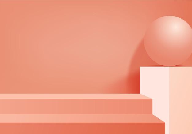 3d背景製品は、幾何学的なプラットフォームで表彰台のシーンを表示します