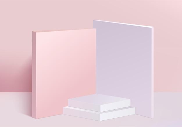 3d背景製品は、幾何学的なプラットフォームで表彰台のシーンを表示します。