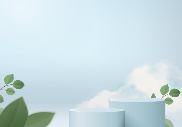 3d 배경 제품은 녹색 잎 기하학적 플랫폼이 있는 연단 장면을 표시합니다. 배경 벡터 연단과 3d 렌더링입니다. 화장품을 보여주는 스탠드. 받침대 디스플레이 블루 스튜디오의 무대 쇼케이스