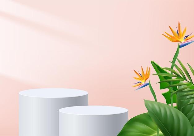 3d背景製品は、緑の葉の幾何学的なプラットフォームの背景で表彰台のシーンを表示します