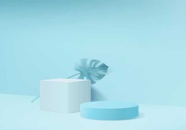 3d 배경 제품은 녹색 잎 기하학적 플랫폼으로 연단 장면을 표시합니다. 페데스탈 디스플레이 블루 스튜디오의 무대 쇼케이스