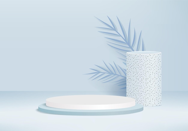 3d背景製品は、緑の葉の幾何学的なプラットフォームで表彰台のシーンを表示します
