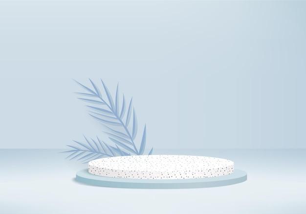 3d 배경 제품 디스플레이 녹색 잎 기하학적 플랫폼과 연단 장면