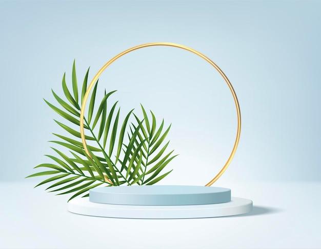 3d background products display podium scene with green leaf geometric platform