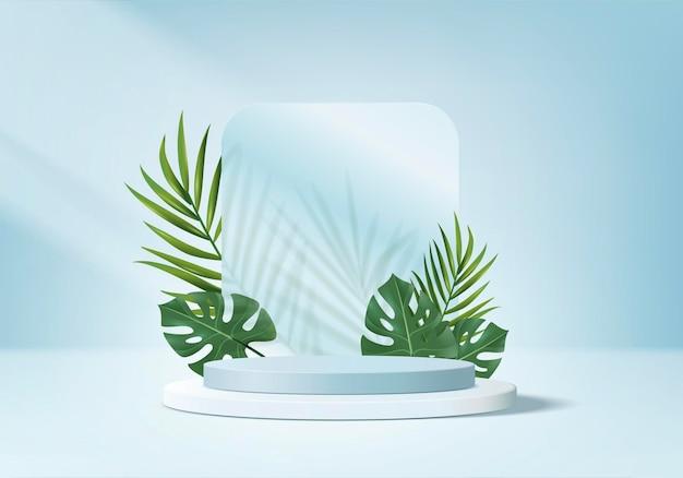 3d background products display podium scene with green leaf geometric platform.
