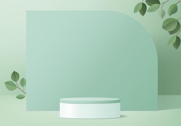 3d背景製品は緑の葉で表彰台のシーンを表示します