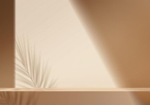 3d фоновые продукты отображают сцену подиума с геометрической платформой из пальмовых листьев. фон вектор 3d визуализации с подиумом. стенд для демонстрации косметической продукции. сценическая витрина на пьедестале biege studio
