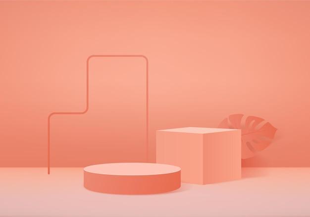 3d фоновые продукты показывают сцену подиума с геометрической платформой из пальмовых листьев. сценическая витрина на пьедестале оранжевой студии