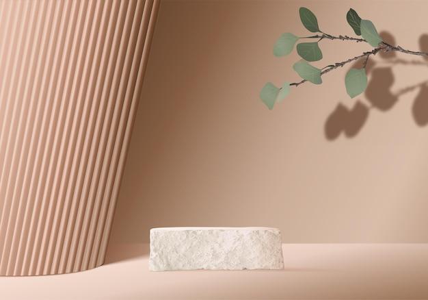 3d background products display podium scene with palm leaf geometric platform.