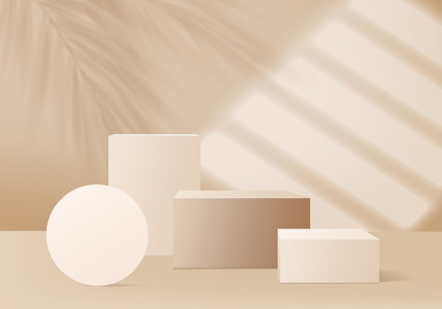 3d background products display podium scene with palm leaf and light sun. background vector 3d render with podium. stand to show cosmetic product. stage showcase on pedestal display beige studio