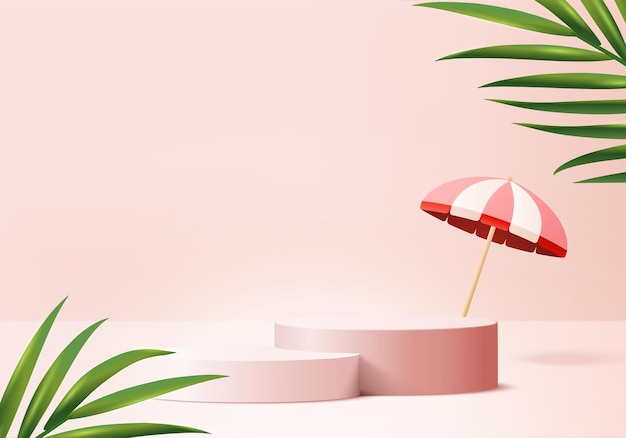 3d background products display podium scene with palm leaf summer platform background 3d render with umbrella podium stand to show cosmetic product stage pedestal display pink studio