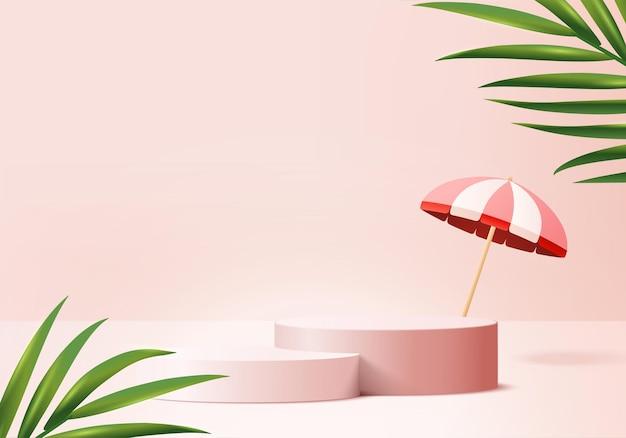 3d背景製品は、ヤシの葉の夏のプラットフォームの背景で表彰台のシーンを表示します化粧品製品を表示する傘の表彰台スタンドで3dレンダリングステージ台座ディスプレイピンクスタジオ