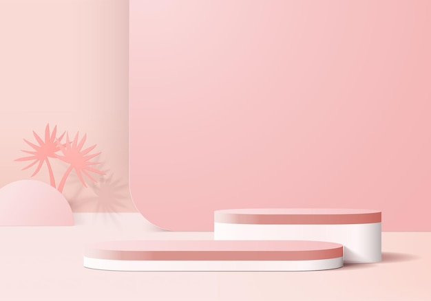 3d background products display podium scene with pink leaf geometric platform.