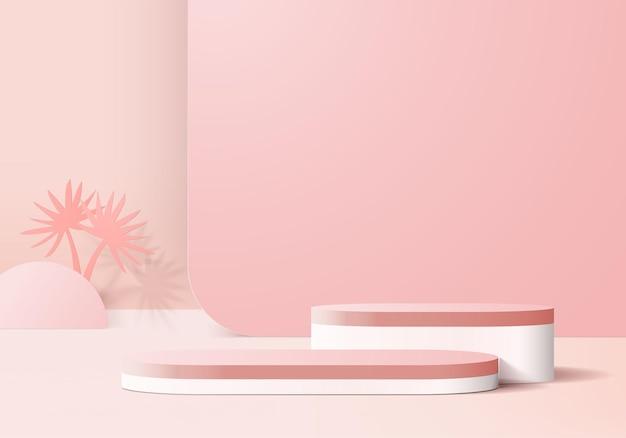3d 배경 제품은 핑크 리프 기하학적 플랫폼으로 연단 장면을 표시합니다.