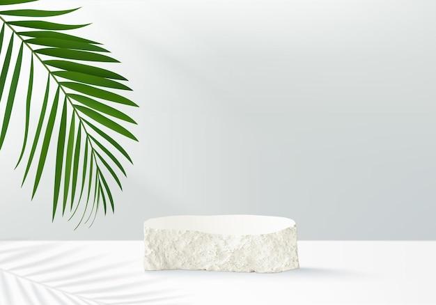 3d background products display podium scene with sotne geometric platform.