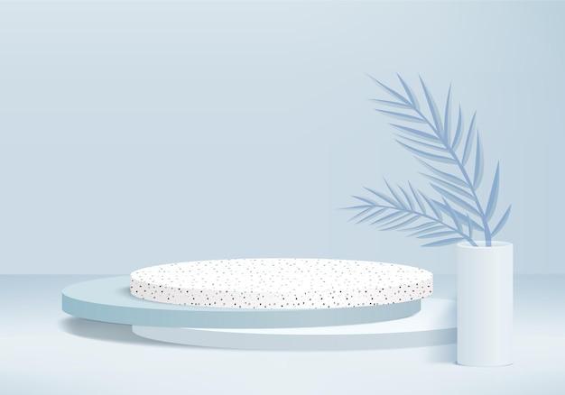 3d 배경 제품은 돌 기하학적 플랫폼과 연단 장면을 표시