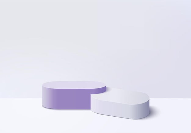 3d background products display podium scene with violet platform. background vector 3d rendering with podium. stand to show cosmetic products. stage showcase on pedestal display purple studio