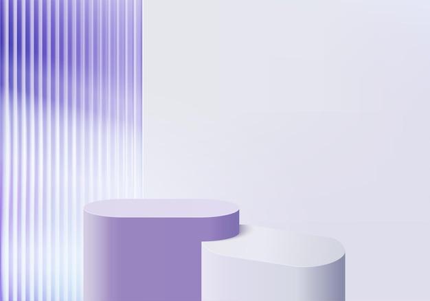 3d 배경 제품은 보라색 플랫폼이 있는 연단 장면을 표시합니다. 배경 벡터 연단과 3d 렌더링입니다. 화장품을 보여주는 스탠드. 받침대 디스플레이 보라색 스튜디오의 무대 쇼케이스
