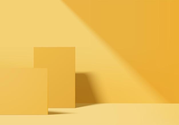 3d 배경 제품은 노란색 잎 기하학적 플랫폼이 있는 연단 장면을 표시합니다. 배경 벡터 연단과 3d 렌더링입니다. 화장품을 보여주는 스탠드. 받침대 디스플레이 노란색의 무대 쇼케이스