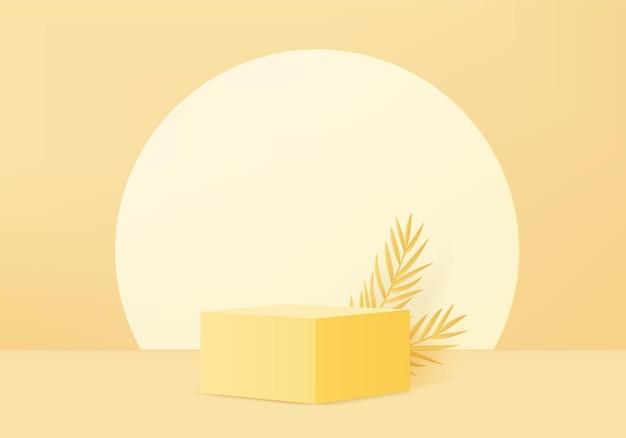 3d 배경 제품 디스플레이 노란색 잎 기하학적 플랫폼과 연단 장면