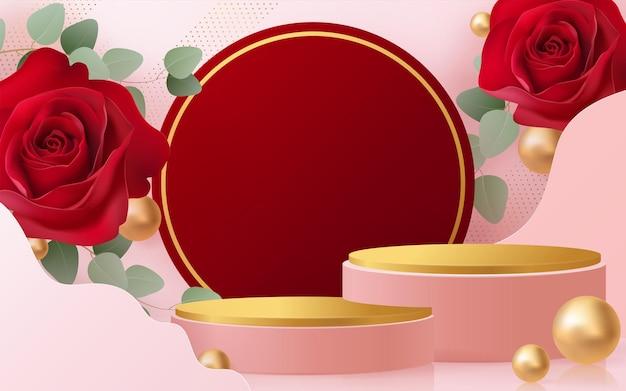 シリンダー付きの赤いバラの背景ベクトル3dのバレンタインデーの表彰台のための3d背景製品。背景にクラフトスタイルの化粧品を展示する表彰台スタンド。